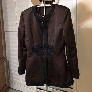 ❤️VICTOR COSTA 2 Pc Brown/Black Skirt/jacket suit